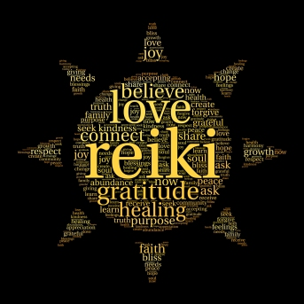 Reiki words in a sunshine design